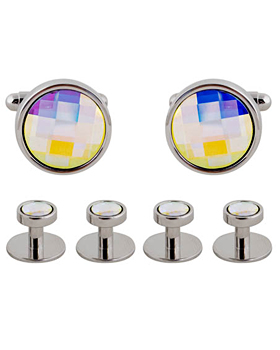 Round Chessboard Cufflinks and Stud Set 4608