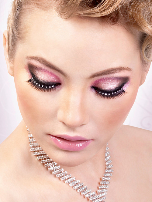 Glamour - Black-White Rhinestone Eyelashes 582