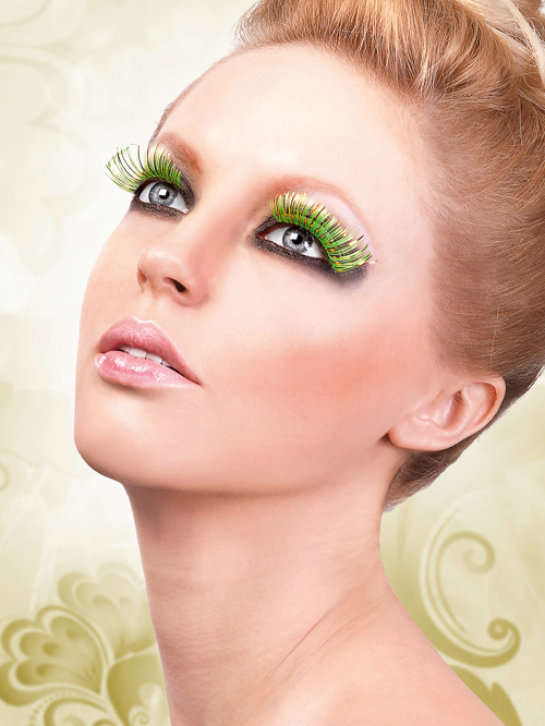 Magic Colors - Yellow-Orange-Light Green Feather Eyelashes 538