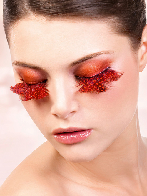 Paradise Dreams - Orange-Red Feather Eyelashes 617