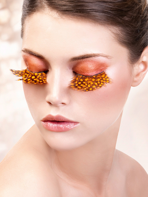Paradise Dreams - Yellow-Brown Feather Eyelashes 635