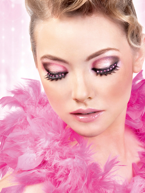 Starlight Edition - Black-Hot Pink Rhinestone Eyelashes 501