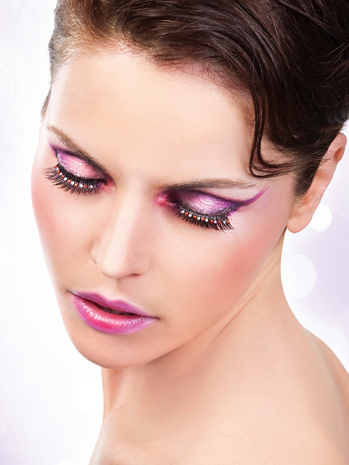 Starlight Edition - Black-Red-White Rhinestone Eyelashes 483