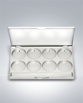 Kryolan Cassette Flat Silver Case for 8 Color Godets 25308