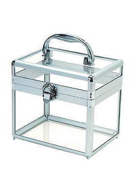 Cinema Secrets Clear Acrylic Makeup Case w Silver Frame