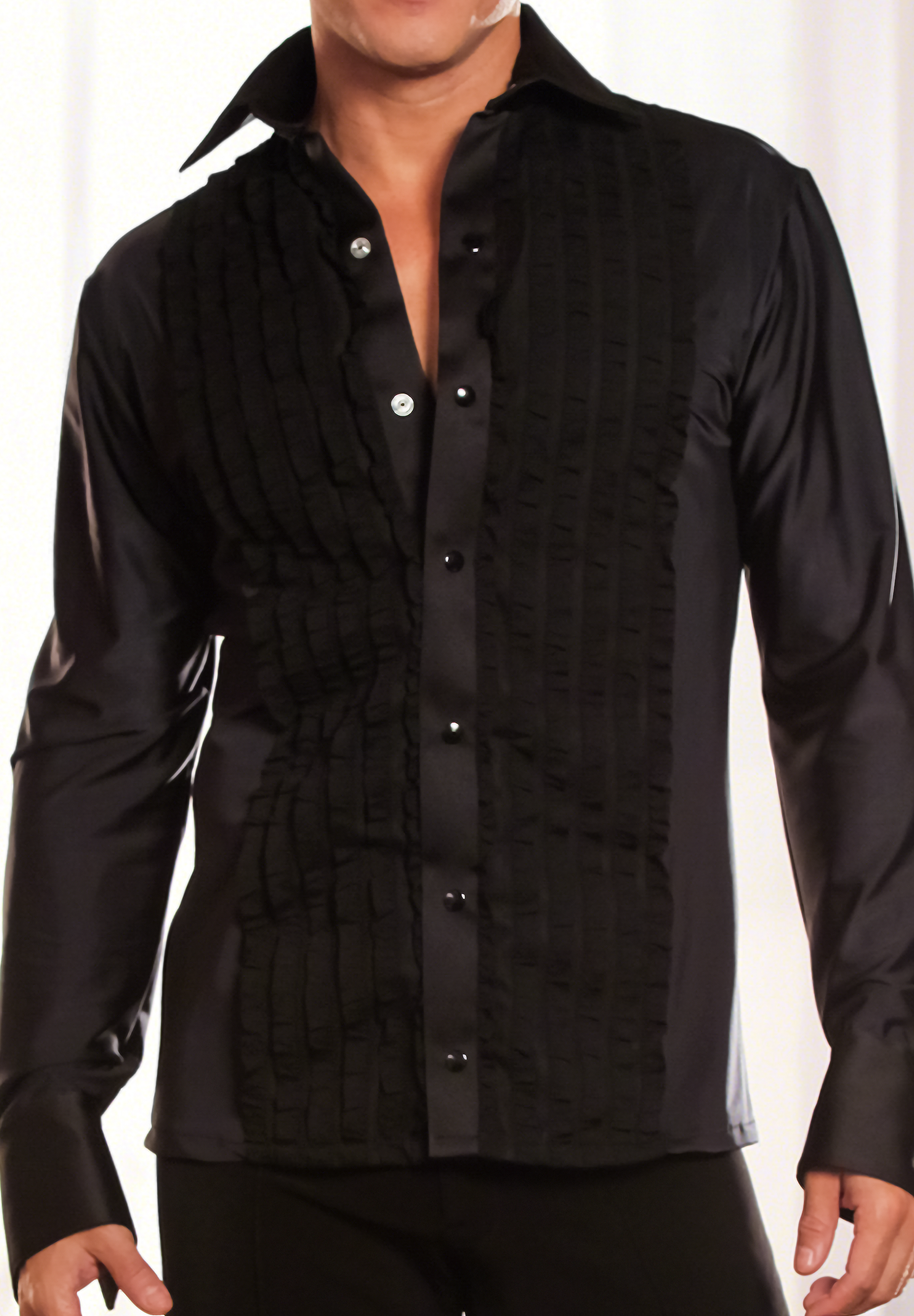 Dance America Mens Ruffled Tuxedo Latin Dance Shirt without Trunks MS8A