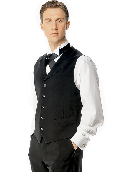 Taka Mens Ballroom Vest with Lapel JV03-C