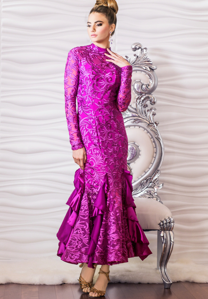 Dance America D601 - Ruffled Embroidery Gown