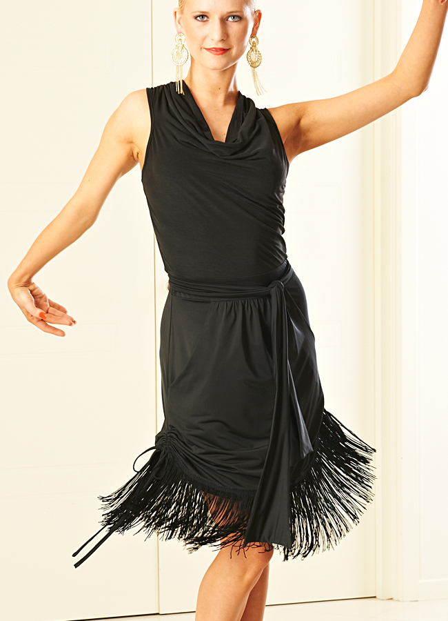 Je Dor Strada Fringe Latin Dress w/belt H6054