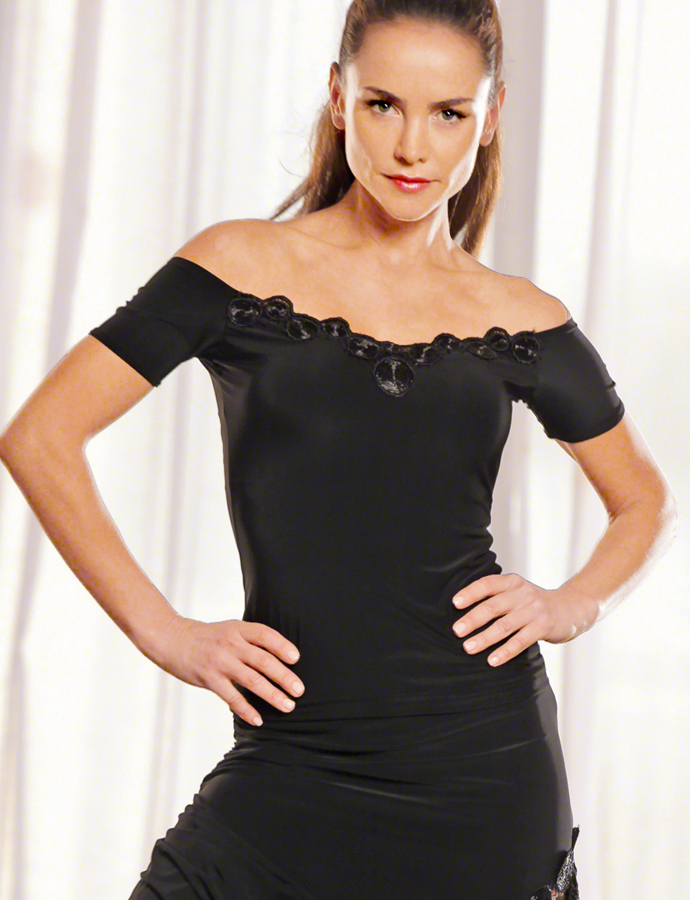 Dance America T317 - Cap Sleeve Top w/Lace Accent