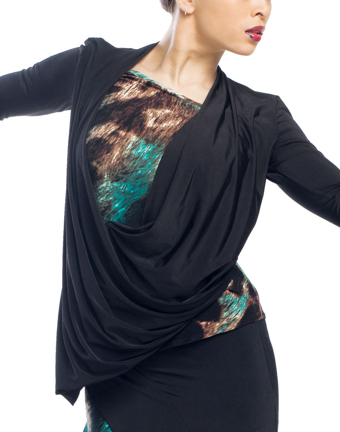 Lumiere Black Swan Ballroom Dance Top T5