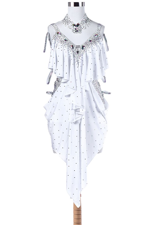 Asymmetric Draped Ruffle Latin Rhythm Competition Dress L5261 ...
