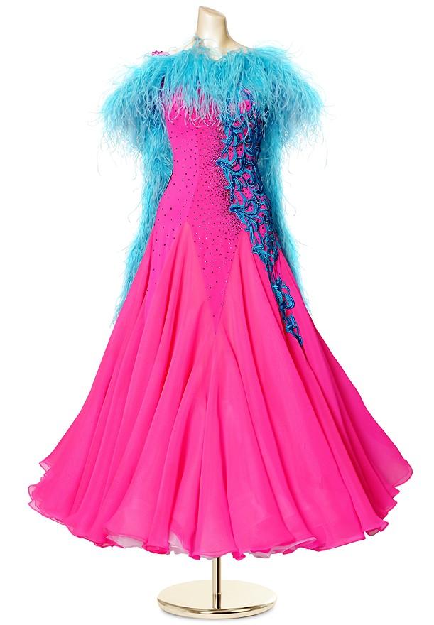 58a4dcb26c25 Crystal Boa Applique Ballroom Dance Gown PCWB19002   DanceShopper