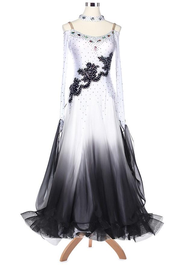 Ombre Diagonal Floral Applique Ballroom Competition Dress A5167 ...