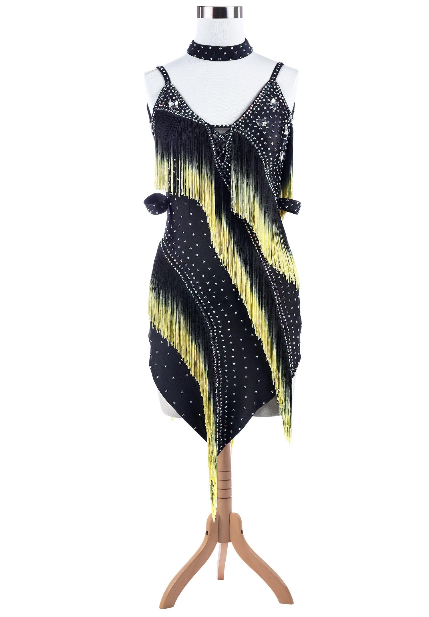 Ombre Fringe Pointed Hem Latin Rhythm Competition Dress L5253 ...