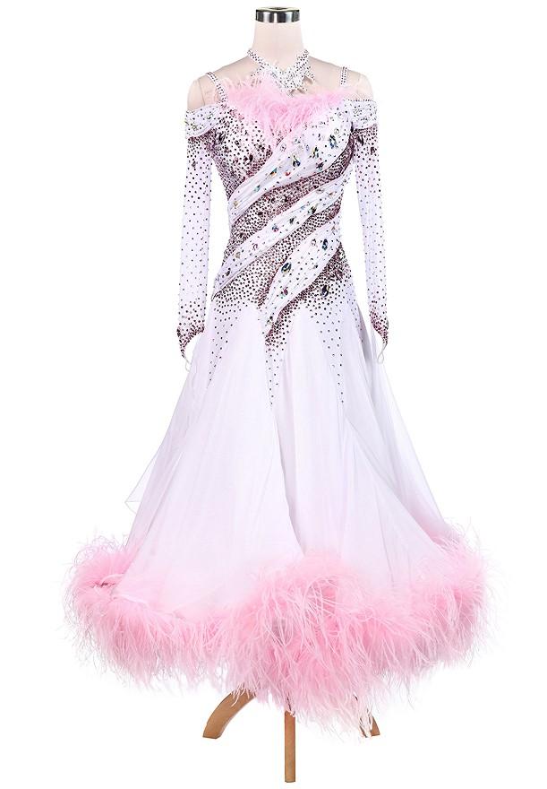 f8e144f55 Superb Diagonal Sparkle Feather Ballroom Competition Dance Dress A5232 ...