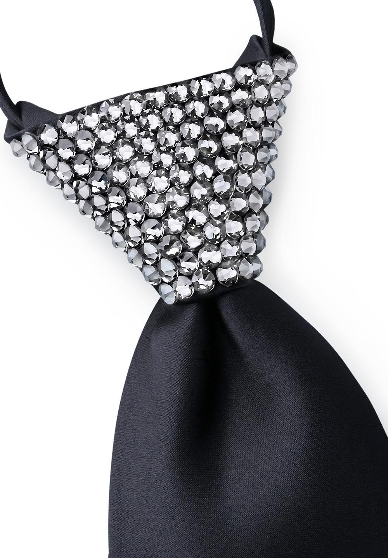 New Mens Ballroom Wedding Dance Black Zip Necktie with Jet AB Swarovski Crystals