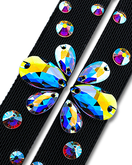 Ballroom Ave Crystallized Shoe Straps CS403 BLK
