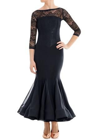 334f818ff Armando Lace Bodice Ballroom Dress 00148-Black Lace w/ Black Lycra