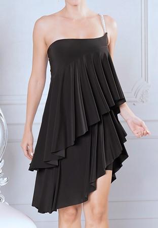 f352e2d9002 Dance America D915 - Ruffled Baby Doll Dress-Black