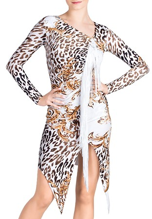 87f6e74707 Dance Box Jackie O Fringe Latin Dress P19120019-03 Gianni Print