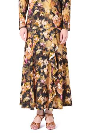 60c20ba70a3f Taka Full Length Practice Dance Skirt KR1901RA-SK223-Yellow Flower Print