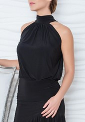85f265ee66  88.00 · Dance America T816 - Blouson Top With Shawl Collar
