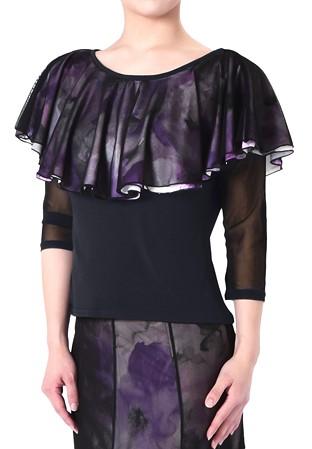 3451afac2368 Taka Cascading Layer Dance Top KR1901RA-BL227-Black/Flower Print