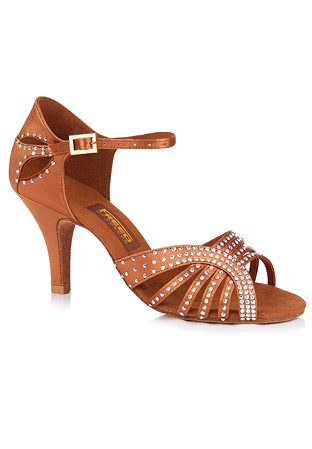 31760d3e5b4f Freed of London Dina Latin Dance Shoes-Dark Tan Satin