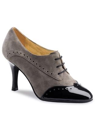 Nueva Epoca Noelia Practice Dance Shoes-Grey Suede   Black Patent 5ae71b537ff0