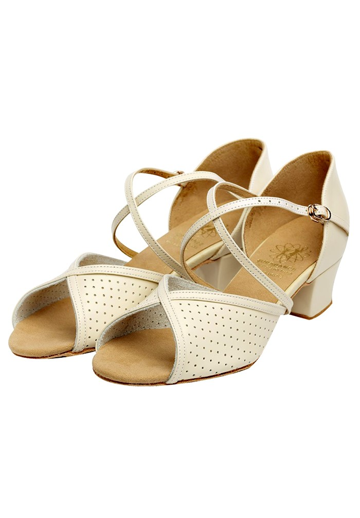 Beige Leather Ballroom Dance Shoes