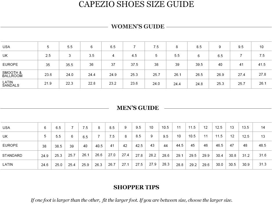Capezio shoes size chart
